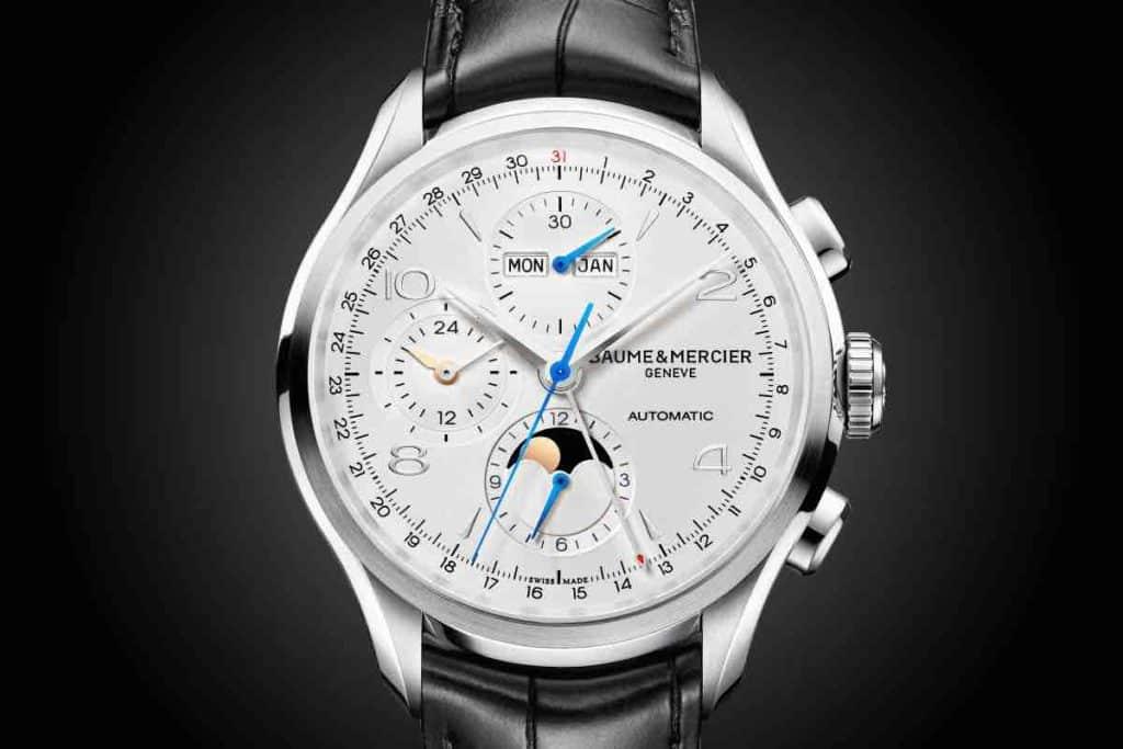 orologio con quadrante bianco Baume Mercier Clifton Chronograph Complete Calendar
