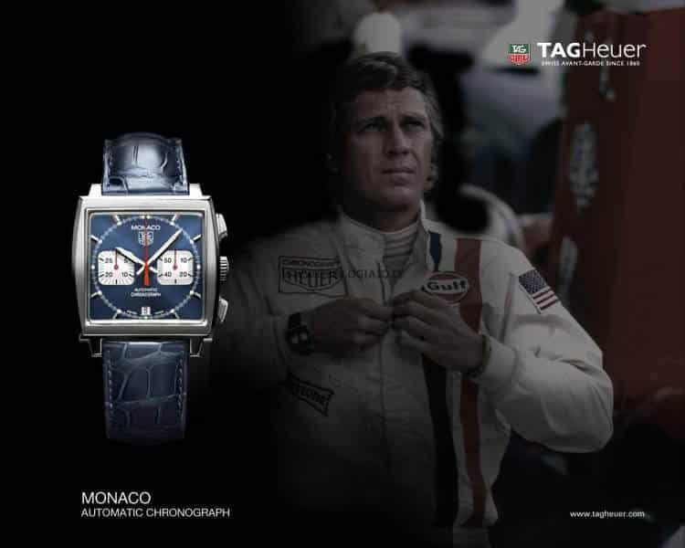 orologio vintage Orologio Tag Heuer Carrera Replica Monaco Steve McQueen